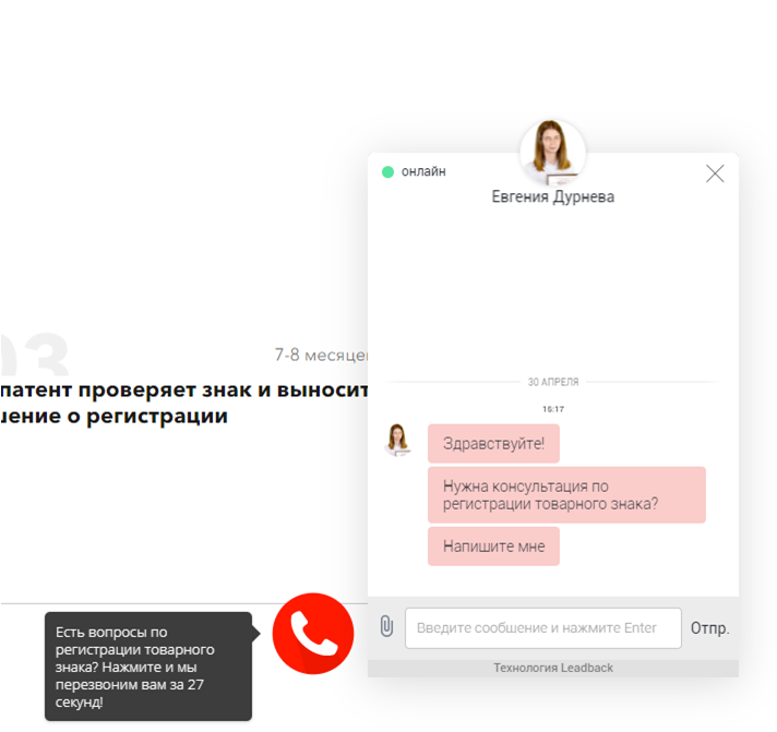 Пример виджета обратного звонка и онлайн-чата