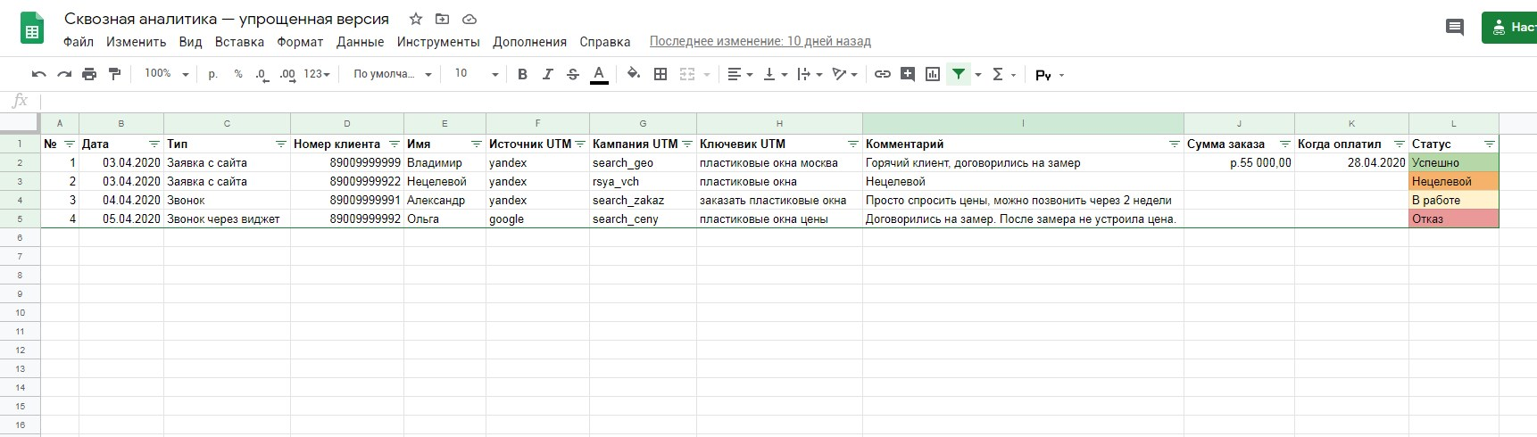 Пример таблицы учета лидов в Excel